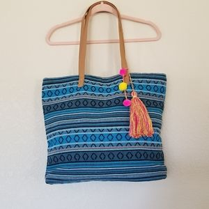 Tote Bag with Tassel and Pom Poms